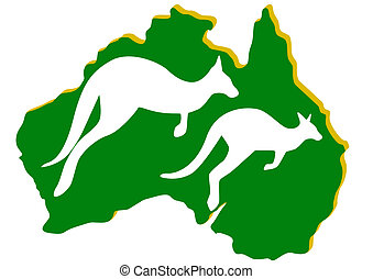 Australia. Kangaroo - Map of Australia with the contour of...