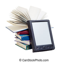 e-books - one e-book with many books isolated on white...