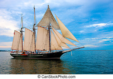 Old Style Sail Boat near Harbor - Old Fashion Sail Boat near...