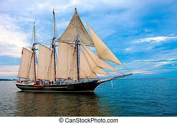 老, 風格, 航行, 小船, 港口