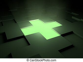 Shining medical cross - render of a glowing green medical...