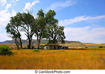 Abandoned Bardyard in Montana under Blue Sky
