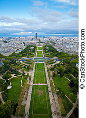 View to The Champ de Mars of Paris from Effeil tower