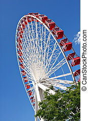 chicago navy pier ferris wheel close up - chicago navy pier...