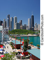 Corner of Chicago Navy Pier at Summer Time - Corner of...