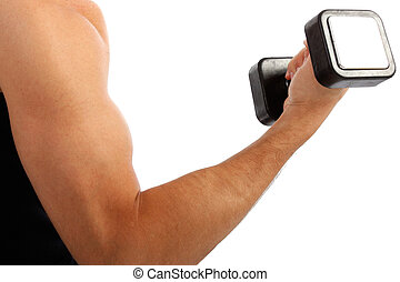 Young Man Arm Holding Weight Closeup on Isolated background