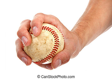 Closeup of Hand Held Baseball on Isolated White