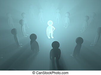 Glowing genius - render of a crowd with one glowing in the...