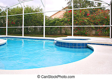 Backyard Swimming Pool with Hot Tub