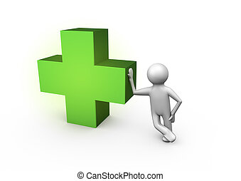 Medical cross - render of a figure leaning against a medical...
