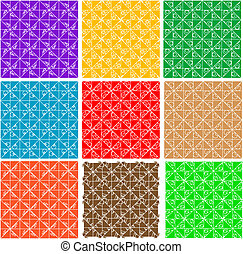 set ornate seamless pattern background vector
