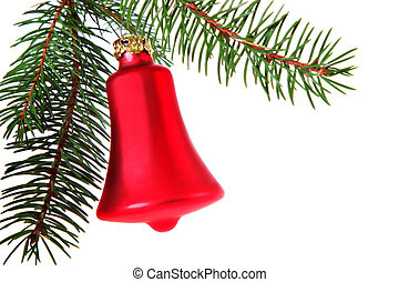 Red Christmas Bell with Pine Branch as Border