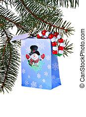 Christmas Gift bag and pine tree - Christmas Gift bag on...