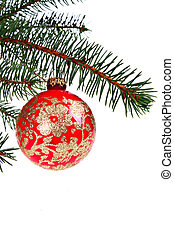 Red Christmast Ball on Pine Branch