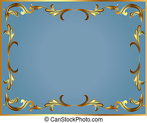 frame with gold pattern on turn blue - illustration frame...