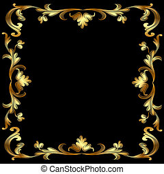 frame with gold pattern on black - illustration frame with...