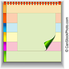 background with note pad and label for messages -...