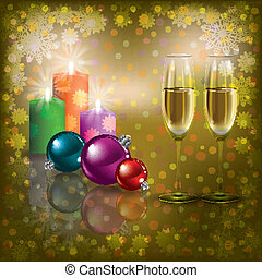Christmas greeting with champagne and candles