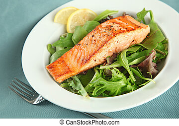 Grilled Salmon Fellet over Green Salad