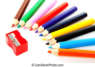 colorful pencils and sharpener - Colorful pencils and...