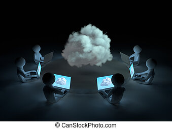 Cloud computing concept - render of several laptops...