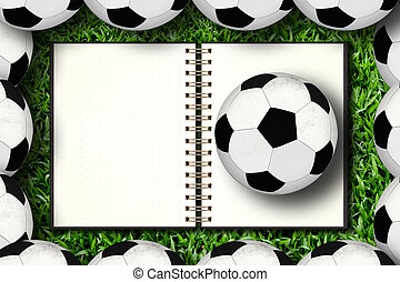 Notebook and soccer in framing