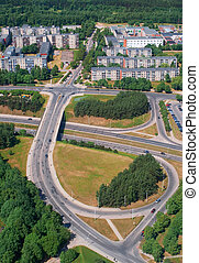 Road junction in Vilnius - Birdseye view of the road...