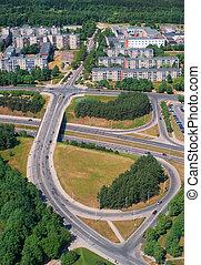 Road junction in Vilnius - Birdseye view of the road...