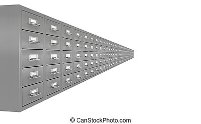 file drawer - one row of file drawer 3d render