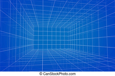 Background of matrix wireframe