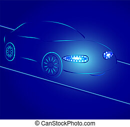 Background from a car silhouette in neon light, light of...