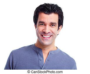 Man - Handsome smiling man Isolated over white background