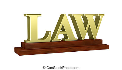 law concept - one name plate with the word: LAW (3d render)