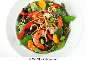 Closeup of Asian Shrimp Salad Plate with Soy-ginger Vinaigrette