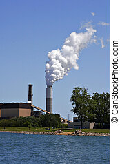 industrial plant pollution - industrial plant smoke...