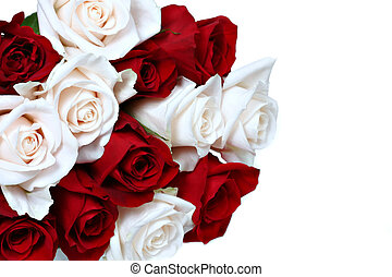 Rose Bouquet - Red and White Rose Bouquet Isolated
