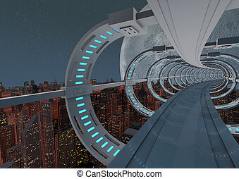 Futuristic city bridge - render of an abstract futuristic...