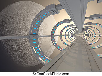 Futuristic space bridge - render of a futuristic bridge...