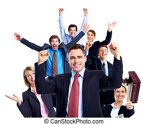 Happy business people. Isolated over white background
