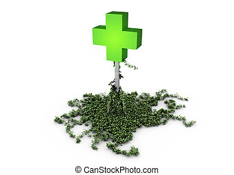 Medical cross - medical cross overgrown with ivy