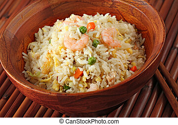 Bowl of Shrimp Stir Fry Rice, Traditional Chinese Food