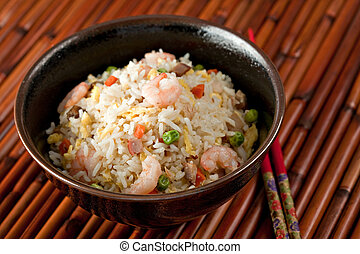 Bowl of Shrimp Stir Fry Rice, Traditional Chinese Food, Dark...