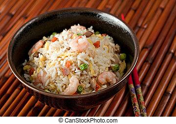 tigela, camarão, movimento, fritar, arroz,...