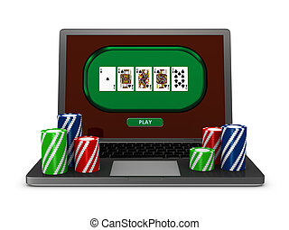 gambling on line - one portable computer with poker fiches...