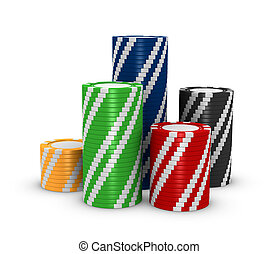 stacks of fiches - stacks of colored fiches on a white...