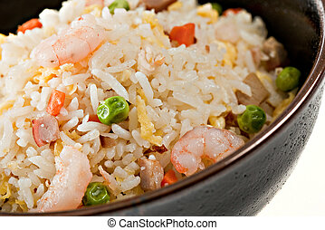Closeup Bowl of Shrimp Stir Fry Rice, Traditional Chinese...