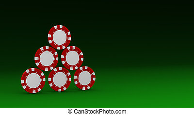 casino fiches - some fiches on a green table (3d render)
