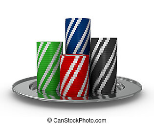 stacks of fiches - stacks of colored fiches on a silver...