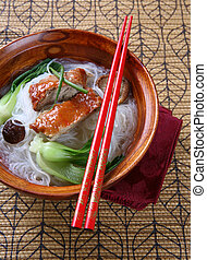 Peking Duck with Rice Noodles Soup Bowl - Popular Asian...