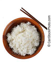 tazón, arroz, aislado